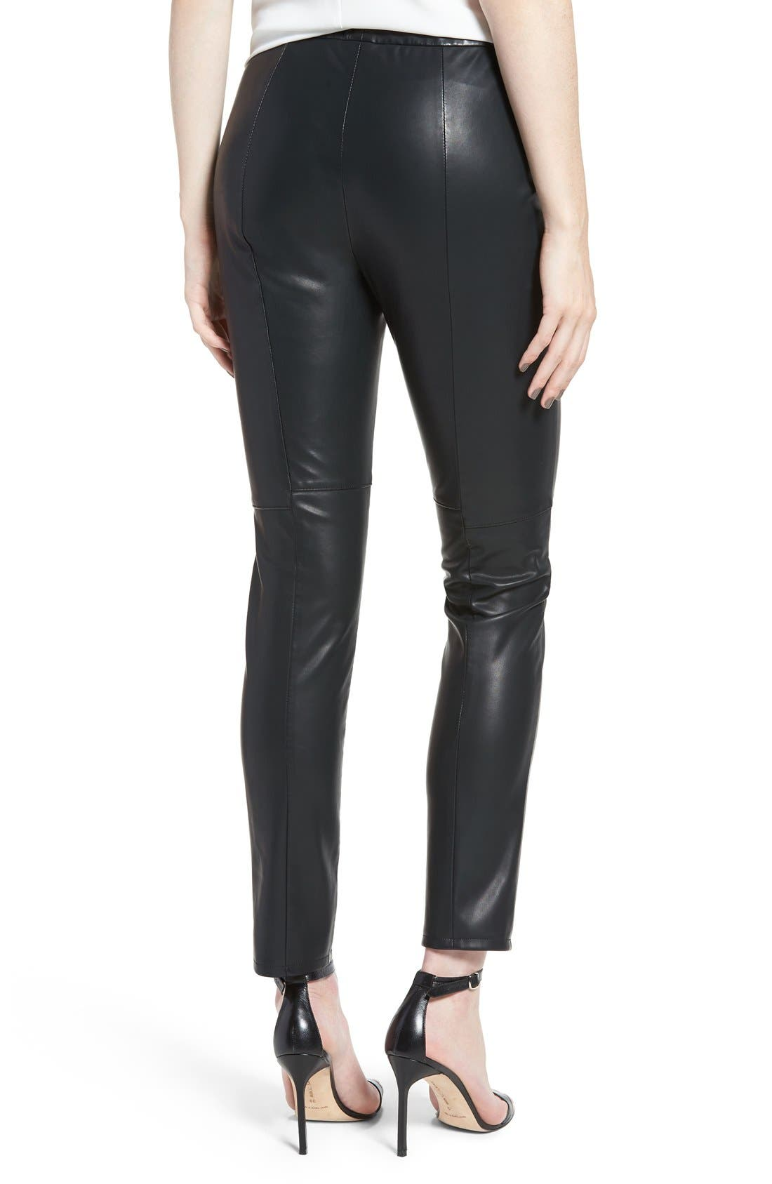 'Liliana' Faux Leather Leggings,                             Alternate thumbnail 2, color,                             Black