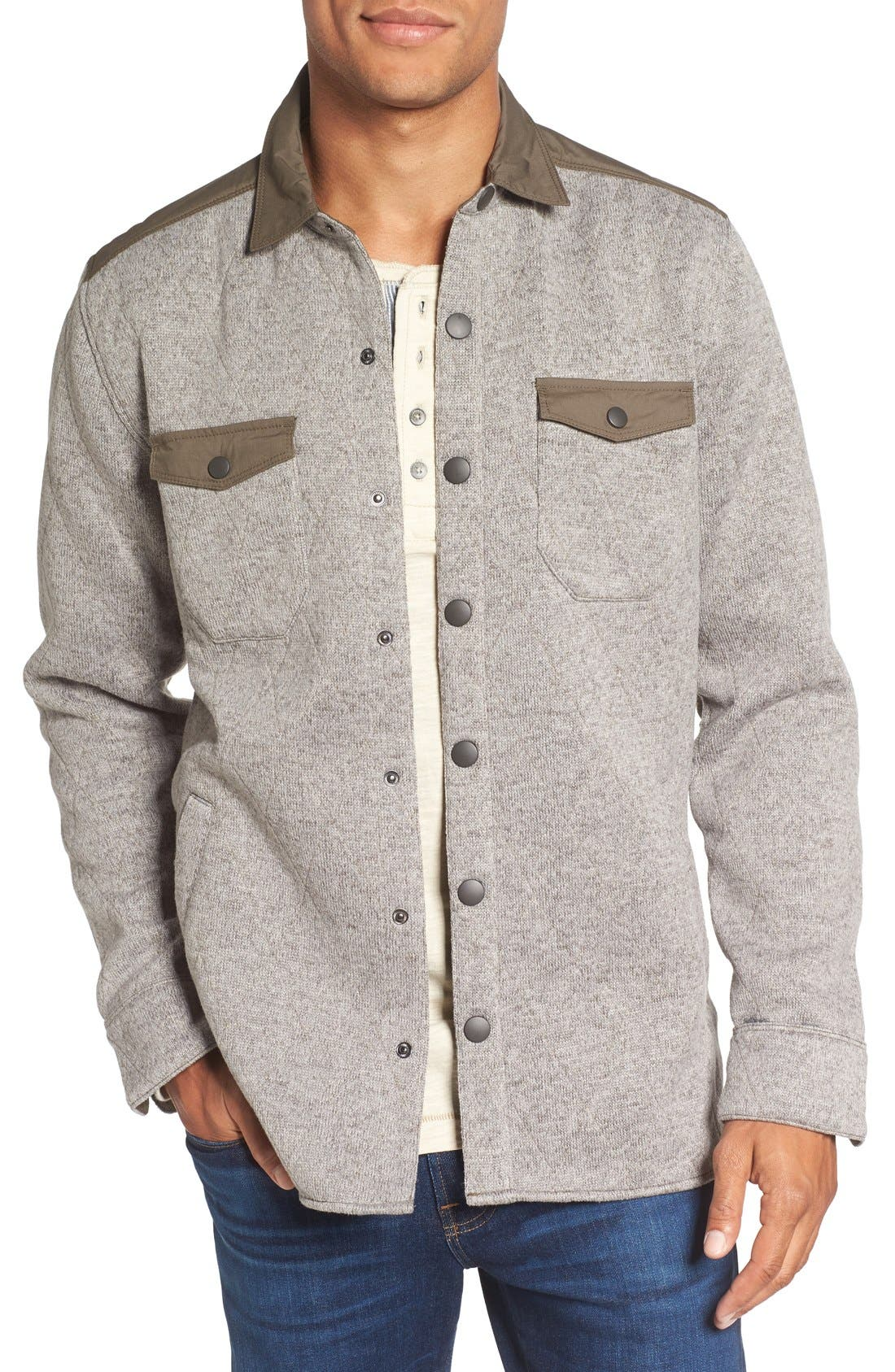 Quilted Fleece Shirt Jacket,                         Main,                         color, Mule