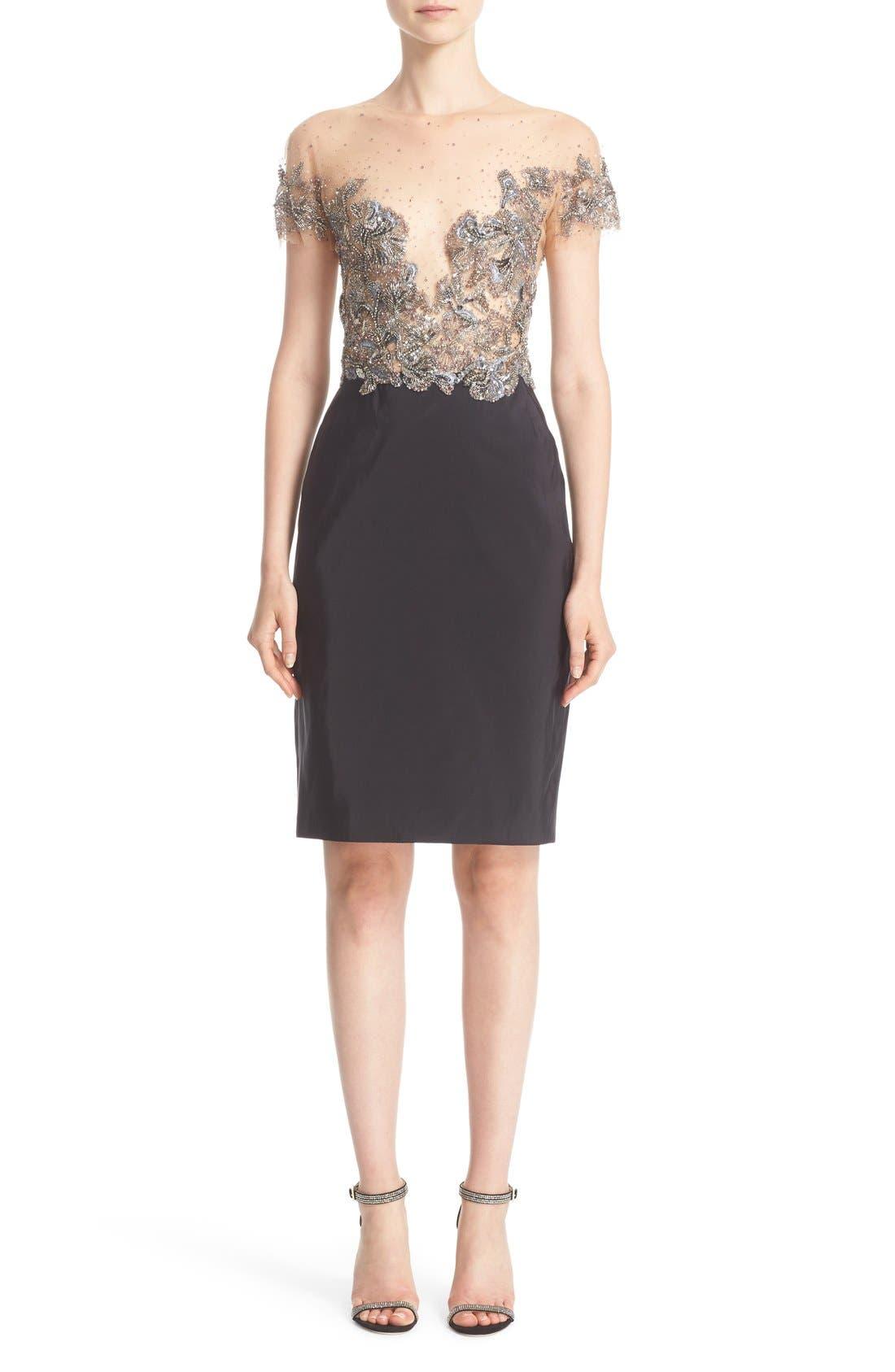 Main Image - Marchesa Embellished Tulle Bodice Sheath Dress (Nordstrom Exclusive)