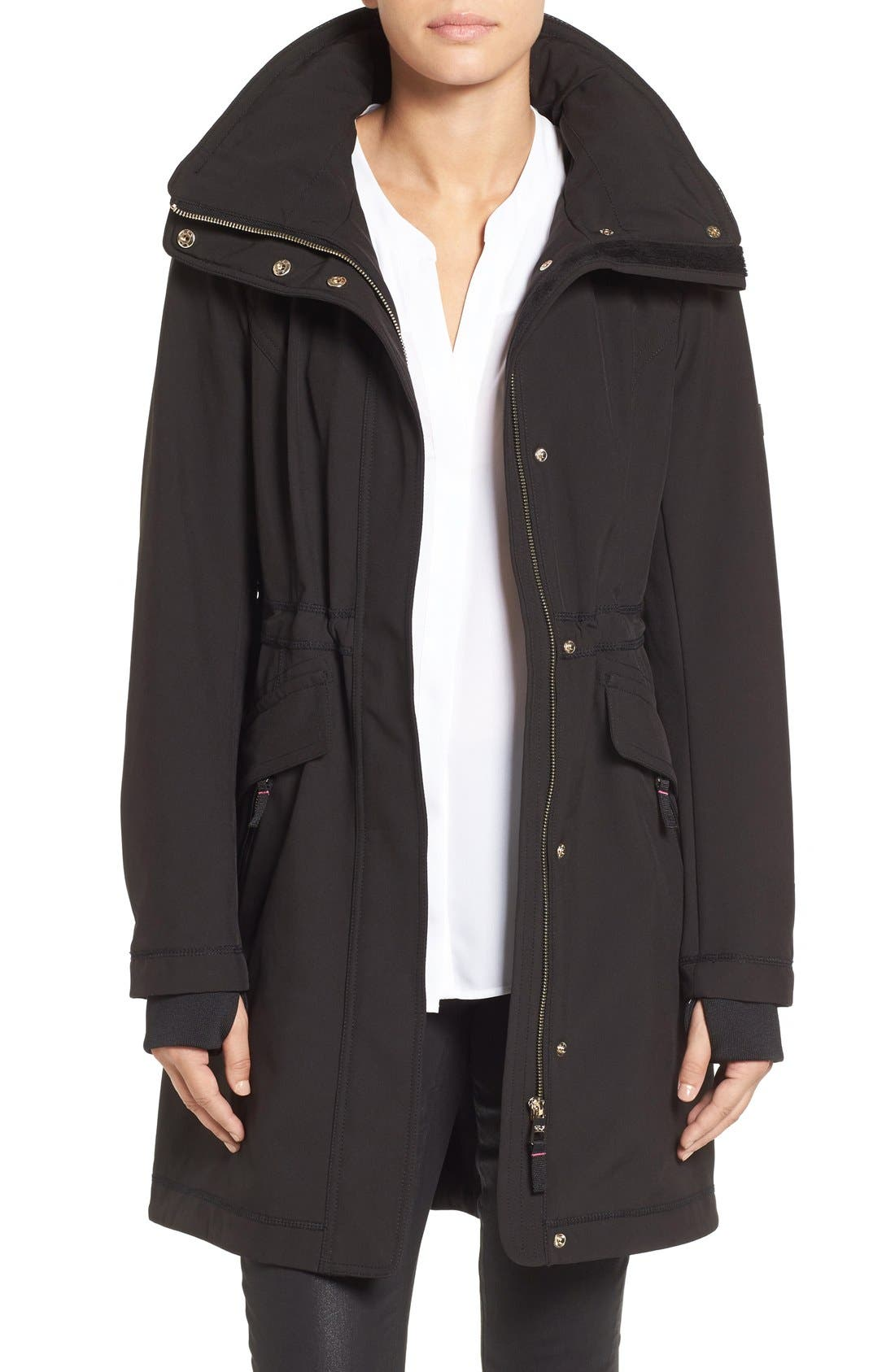 Eliza J Soft Shell Hooded Raincoat