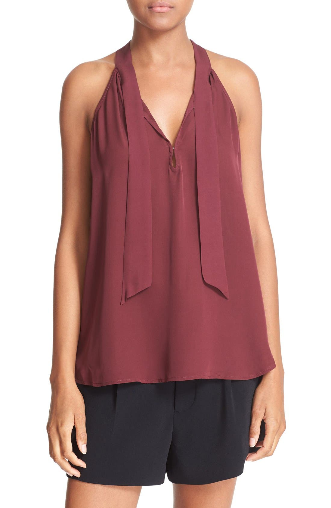 Alternate Image 1 Selected - Joie 'Melisent' Sleeveless Tie Neck Silk Blouse