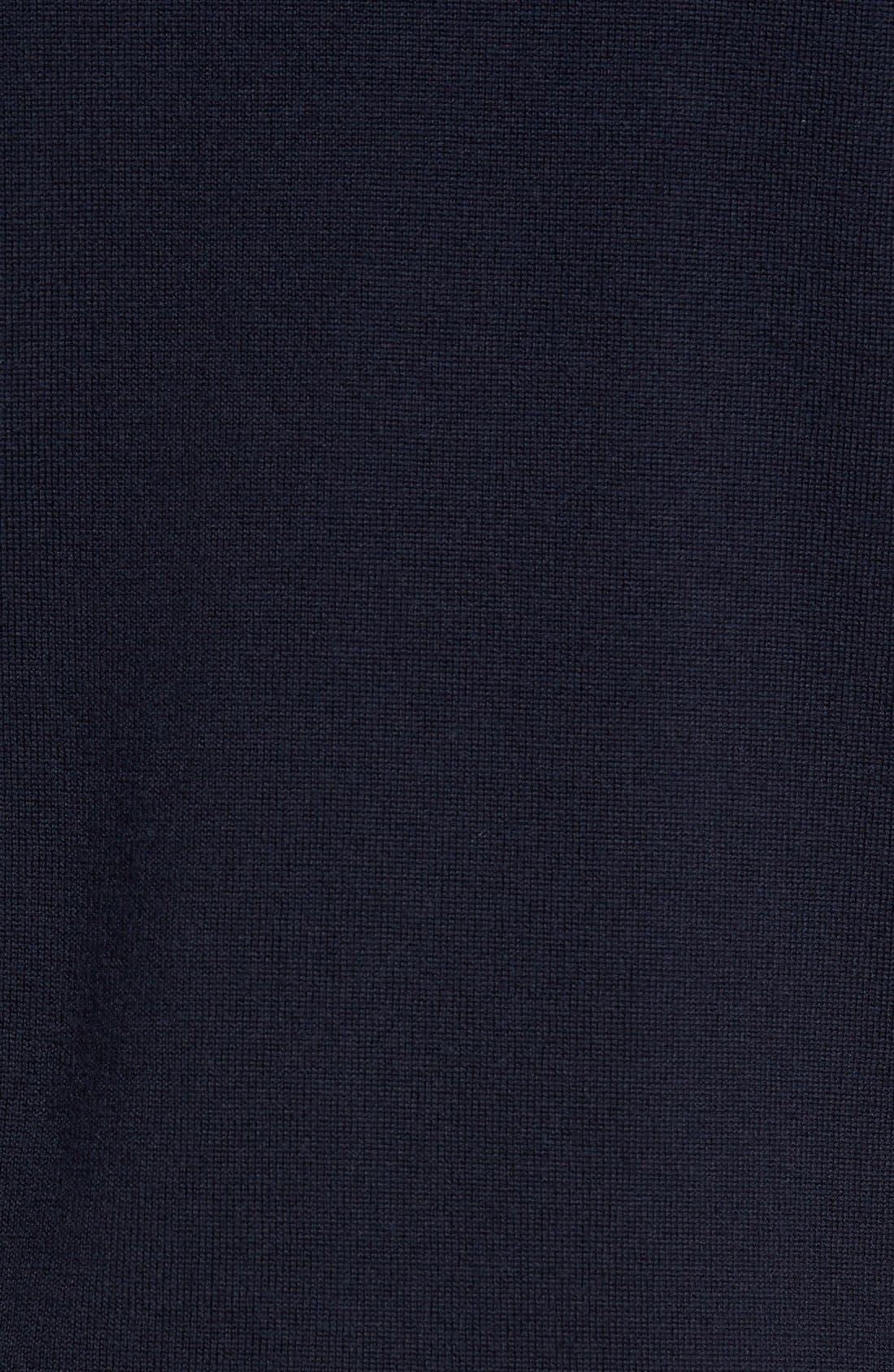 'Tapton' Quarter Zip Merino Wool Sweater,                             Alternate thumbnail 5, color,                             Midnight