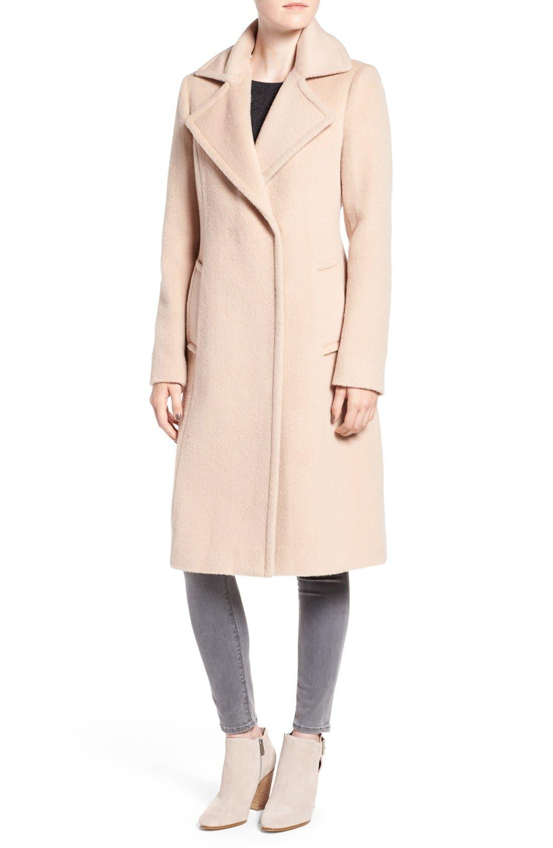 Alternate Image 4  - Diane von Furstenberg Genuine Fox Fur Trim Notch Collar Long Wool Blend Coat