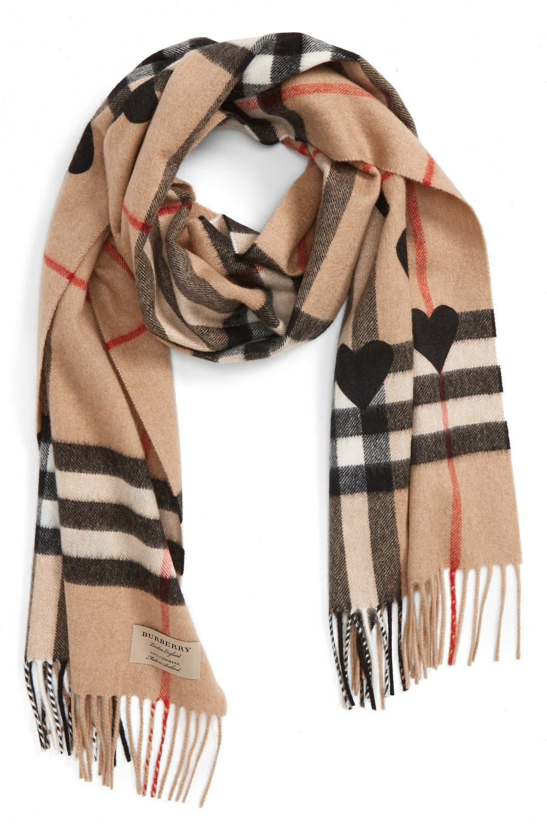 Heart & Giant Check Fringed Cashmere Scarf,                         Main,                         color, Tan/ Black