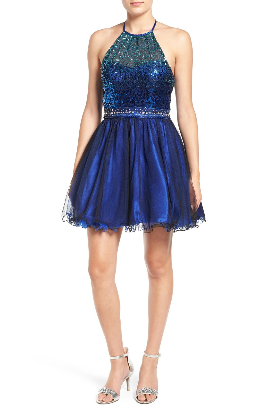 Steppin Out Sequin Halter Two Piece Skater Dress Nordstrom