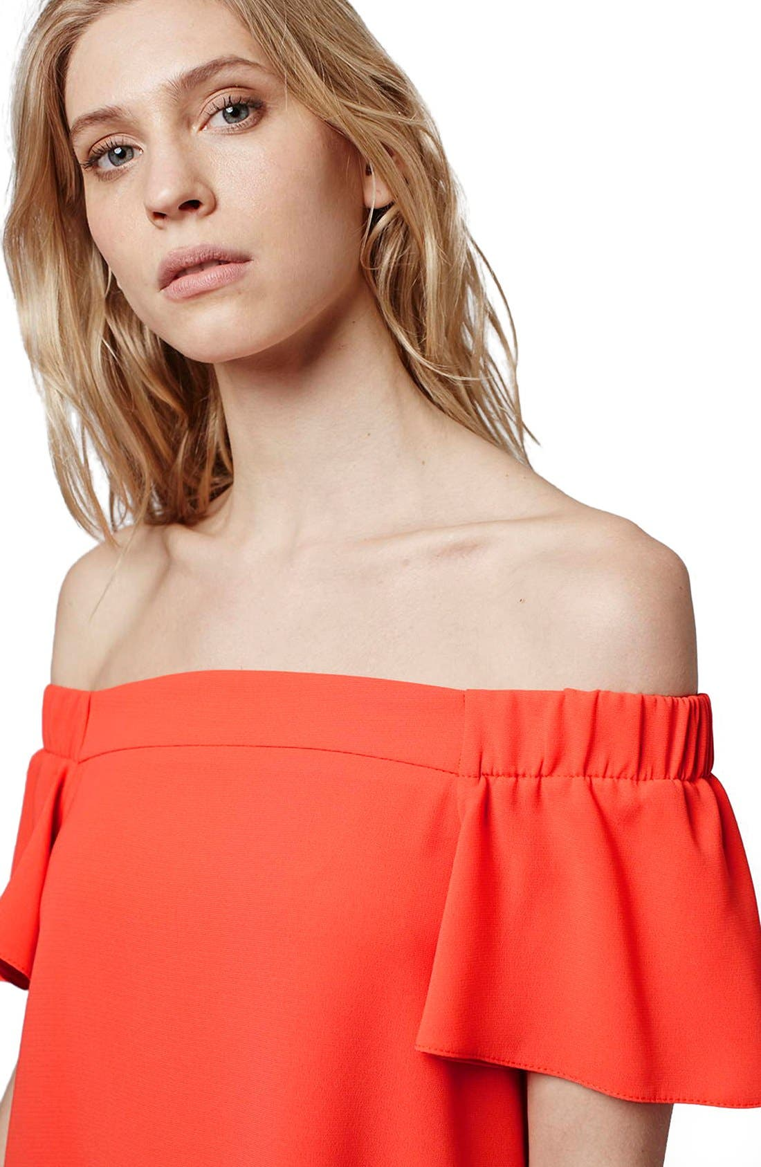 Alternate Image 5  - Topshop Off the Shoulder Trapeze Dress (Regular & Petite)
