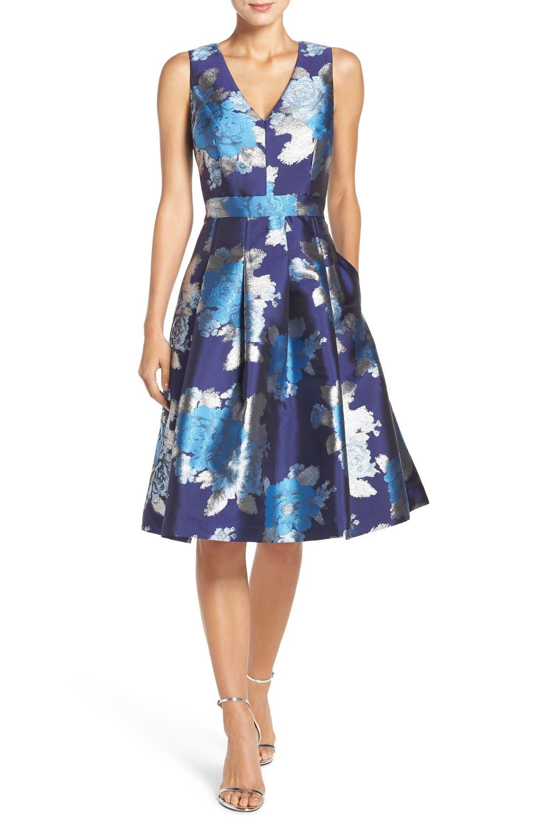 Main Image - Eliza J Metallic Jacquard Fit & Flare Dress (Regular & Petite)