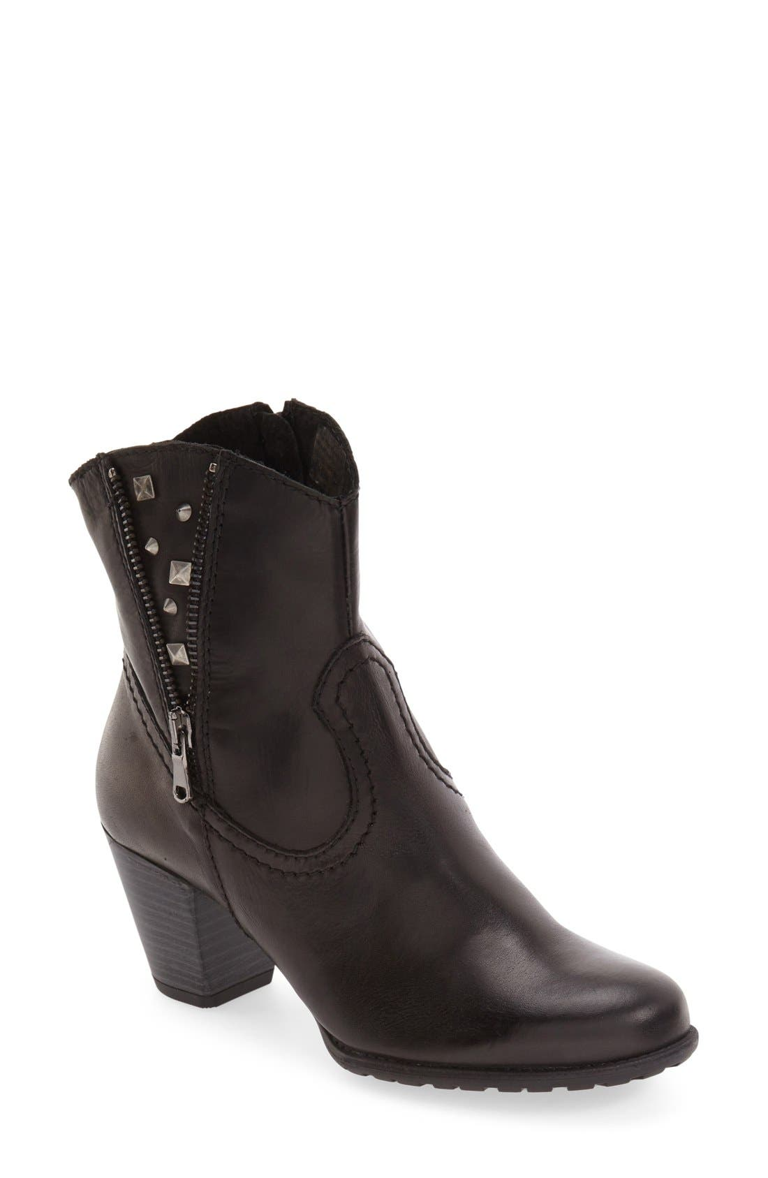 'Kiki' Studded Bootie,                         Main,                         color, Black Leather