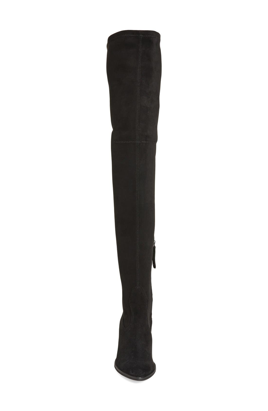 'Sparrow' Thigh High Almond Toe Boot,                             Alternate thumbnail 3, color,                             Black Suede