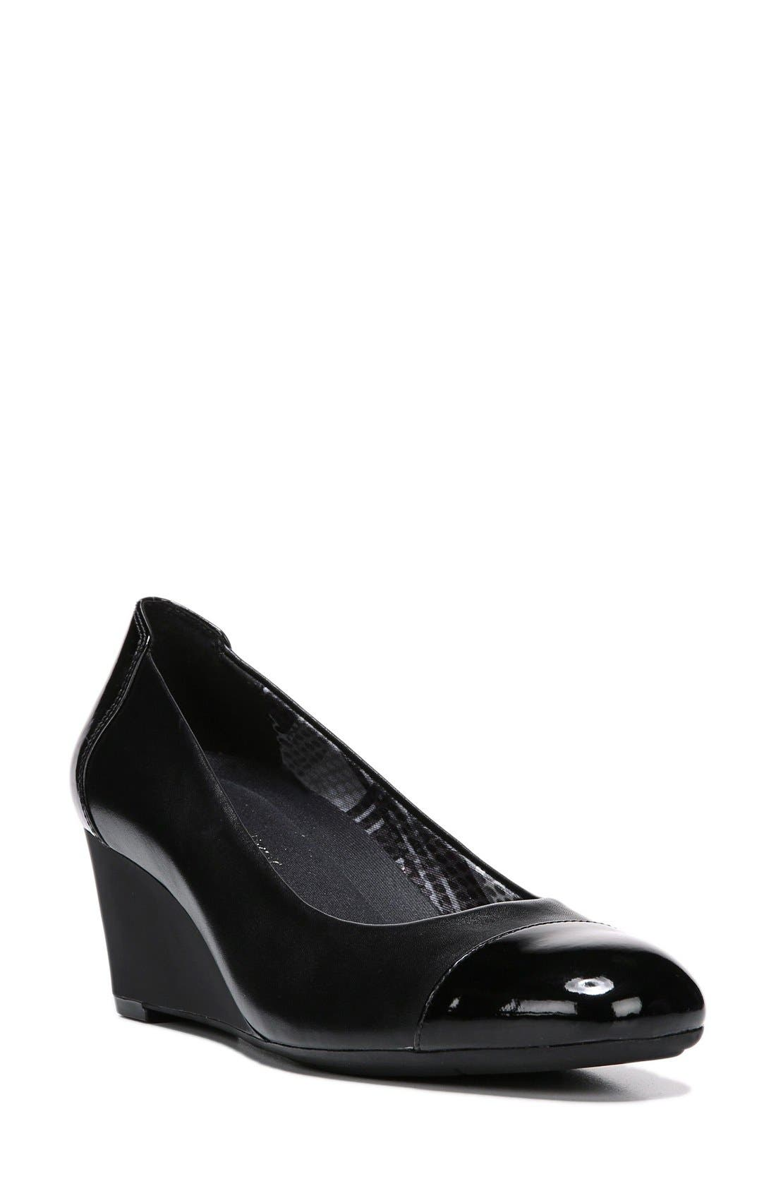 'Necile' Wedge Pump,                         Main,                         color, Black Leather