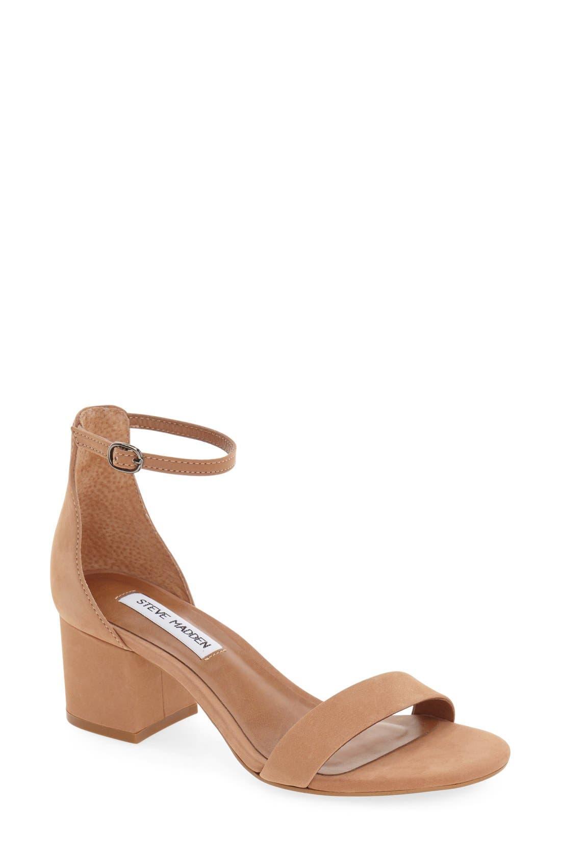 Irenee Ankle Strap Sandal,                             Main thumbnail 1, color,                             Tan Nubuck