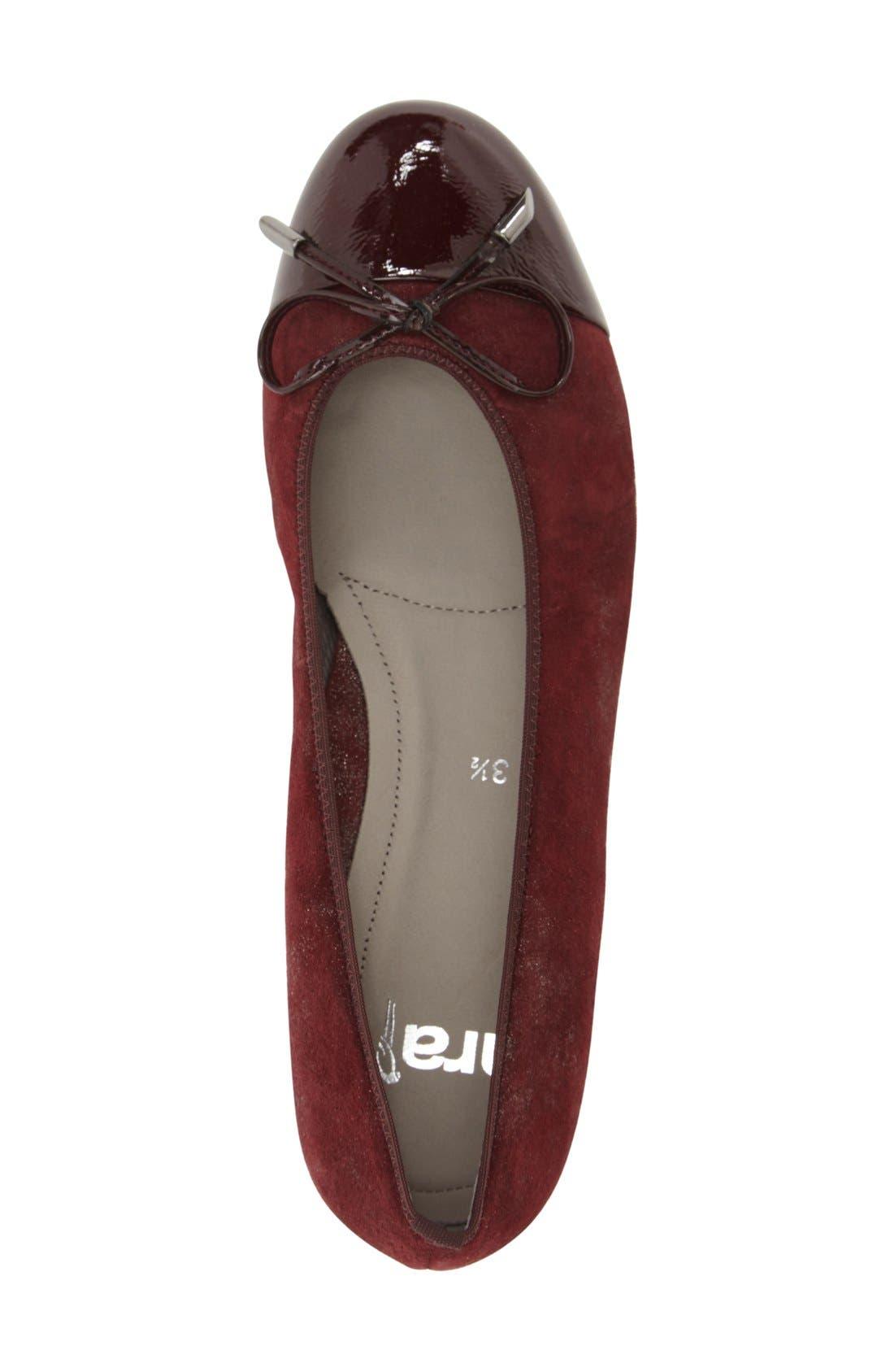 'Betty' Cap Toe Flat,                             Alternate thumbnail 3, color,                             Burgundy Patent Leather