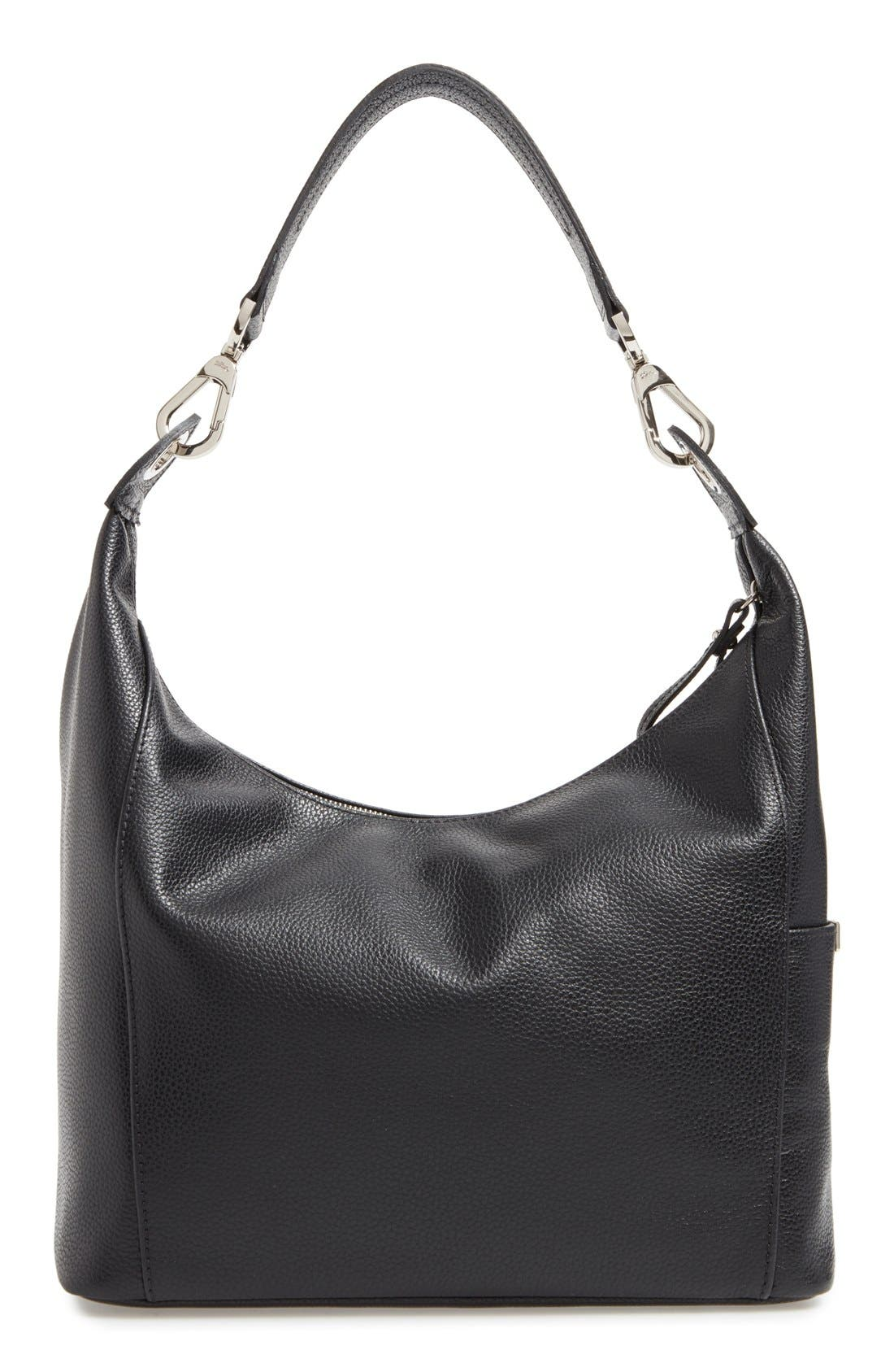 'Le Foulonne' Leather Hobo Bag,                             Alternate thumbnail 3, color,                             Black