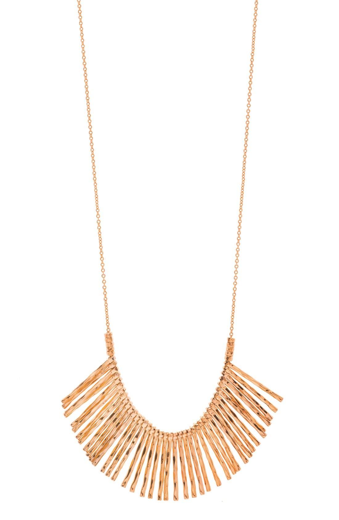 'Kylie' Fan Necklace,                         Main,                         color, Rose Gold