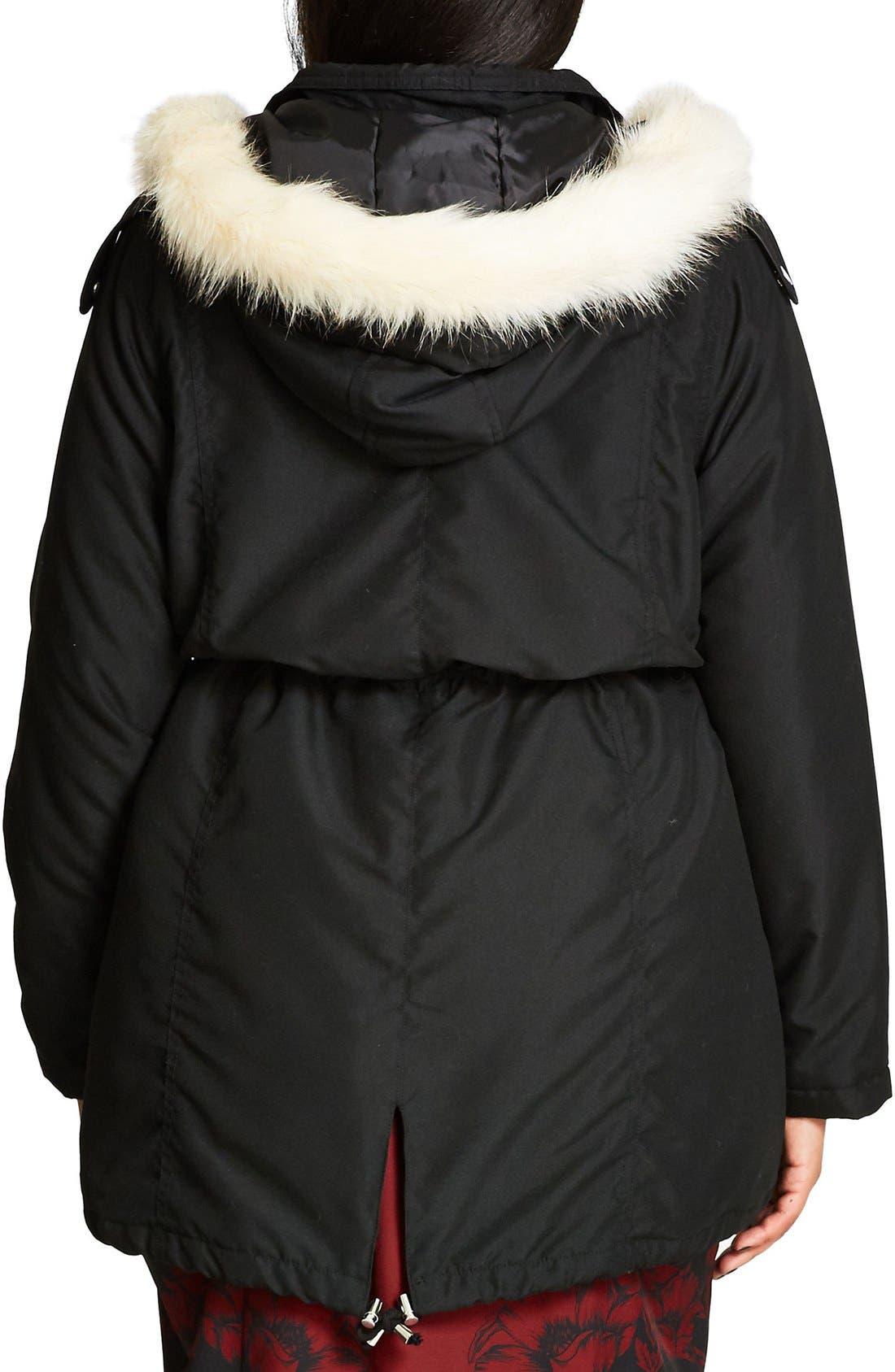 Alternate Image 3  - City Chic 'London Look' Faux Fur Trim Hooded Parka (Plus Size)