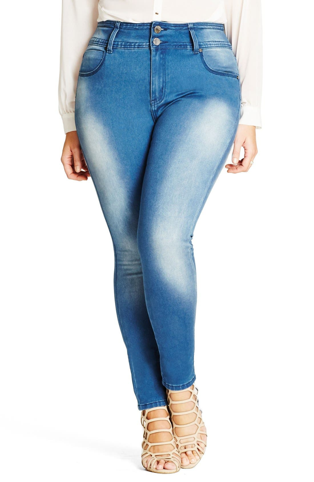 City Chic 'Harley' Stretch Skinny Jeans (Plus Size)