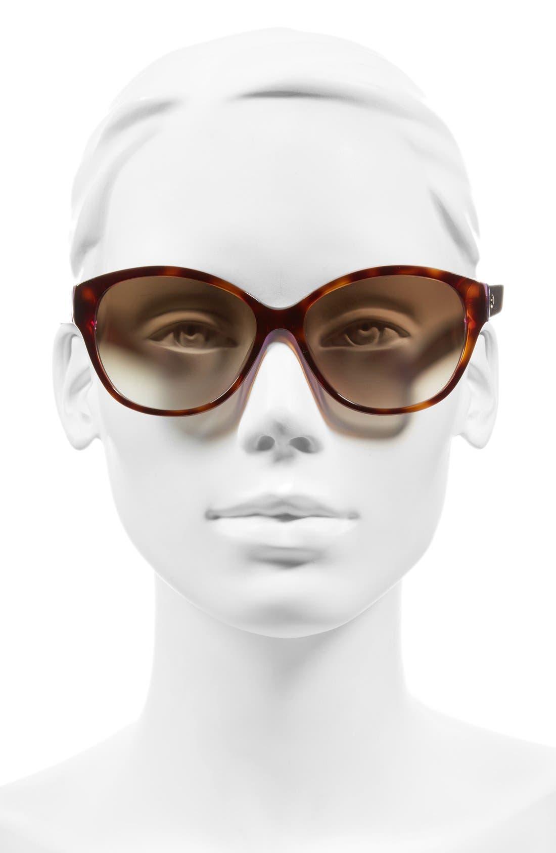 'kiersten' 56mm cat eye sunglasses,                             Alternate thumbnail 2, color,                             Purple Tortoise