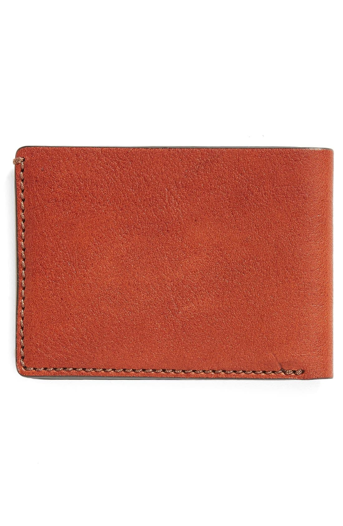 Leather Bifold Wallet,                             Alternate thumbnail 3, color,                             Cognac