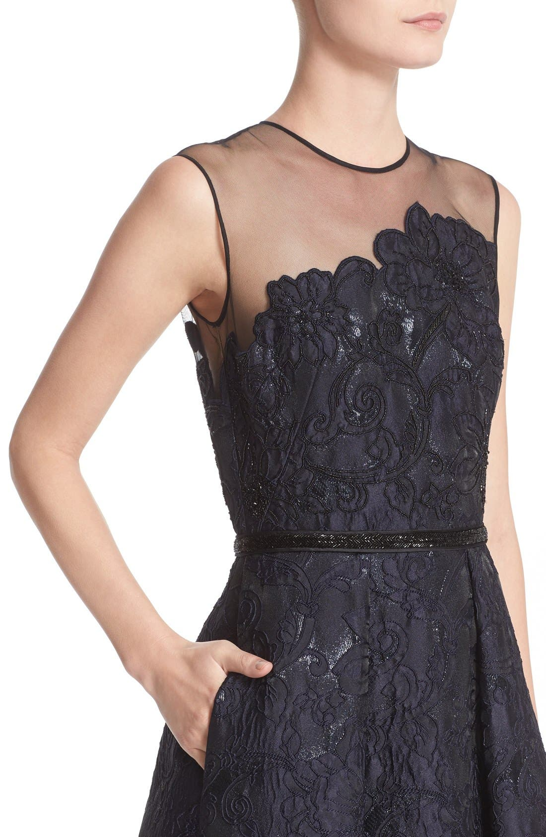 Illusion Yoke Embroidered Jacquard A-Line Gown,                             Alternate thumbnail 5, color,                             Midnight