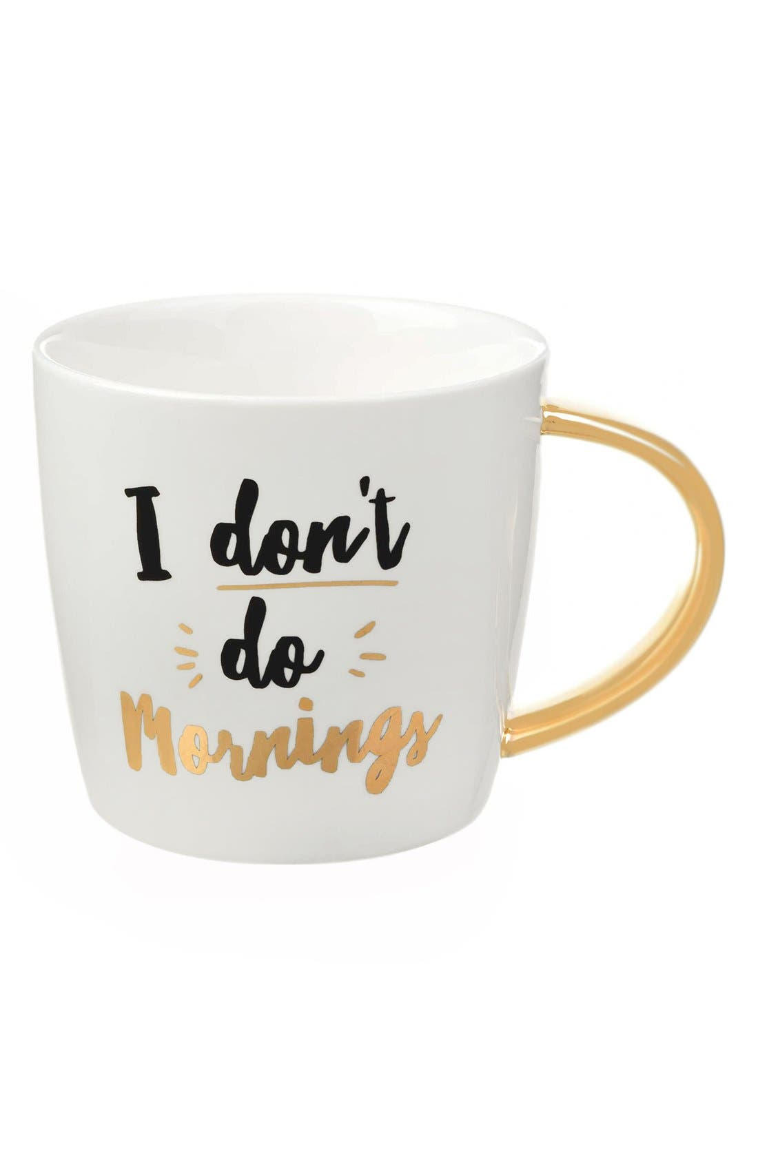 'I Don't Do Mornings' Mug,                         Main,                         color, Gold