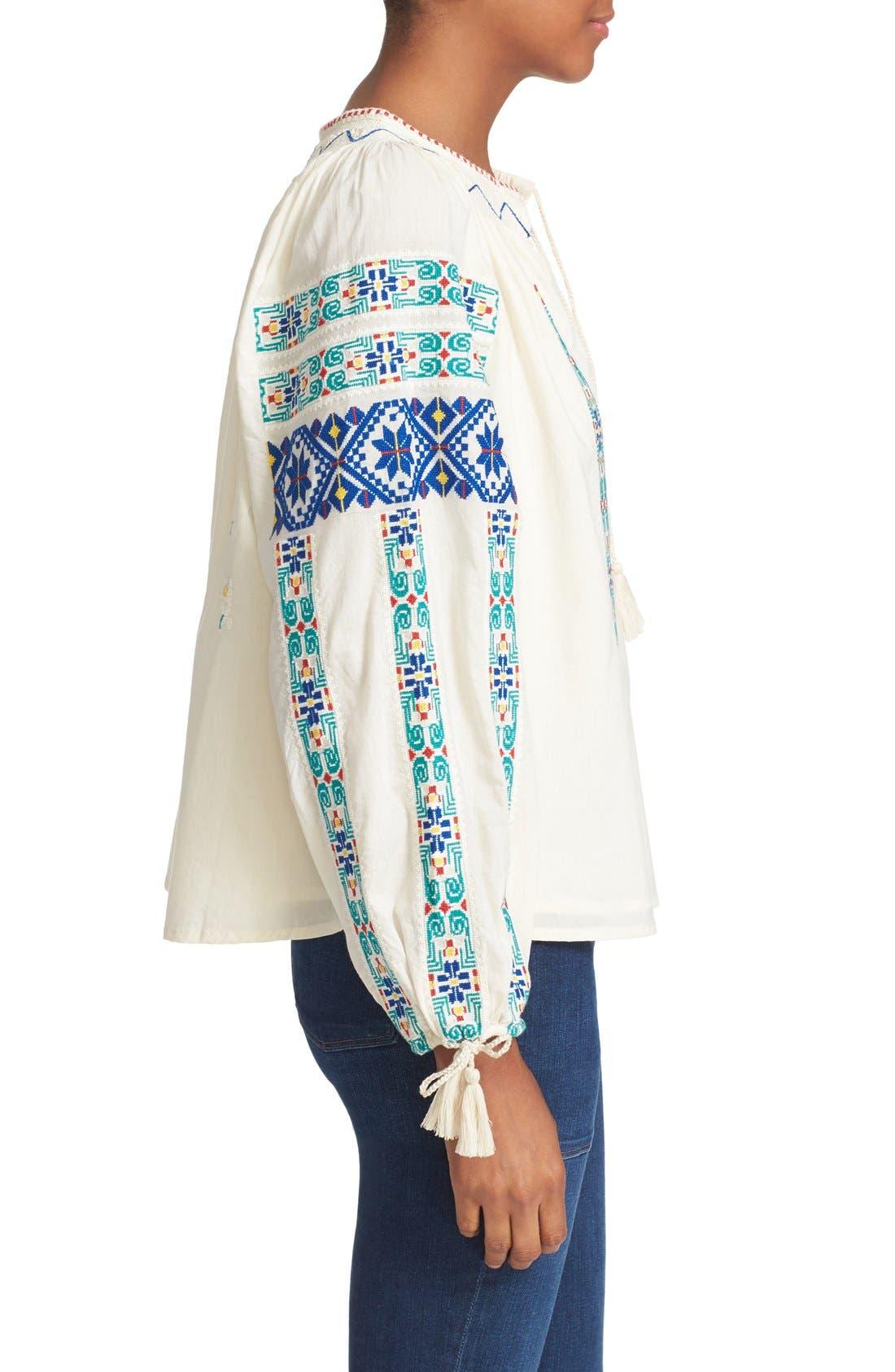 Alternate Image 3  - Sea Embroidered Peasant Blouse