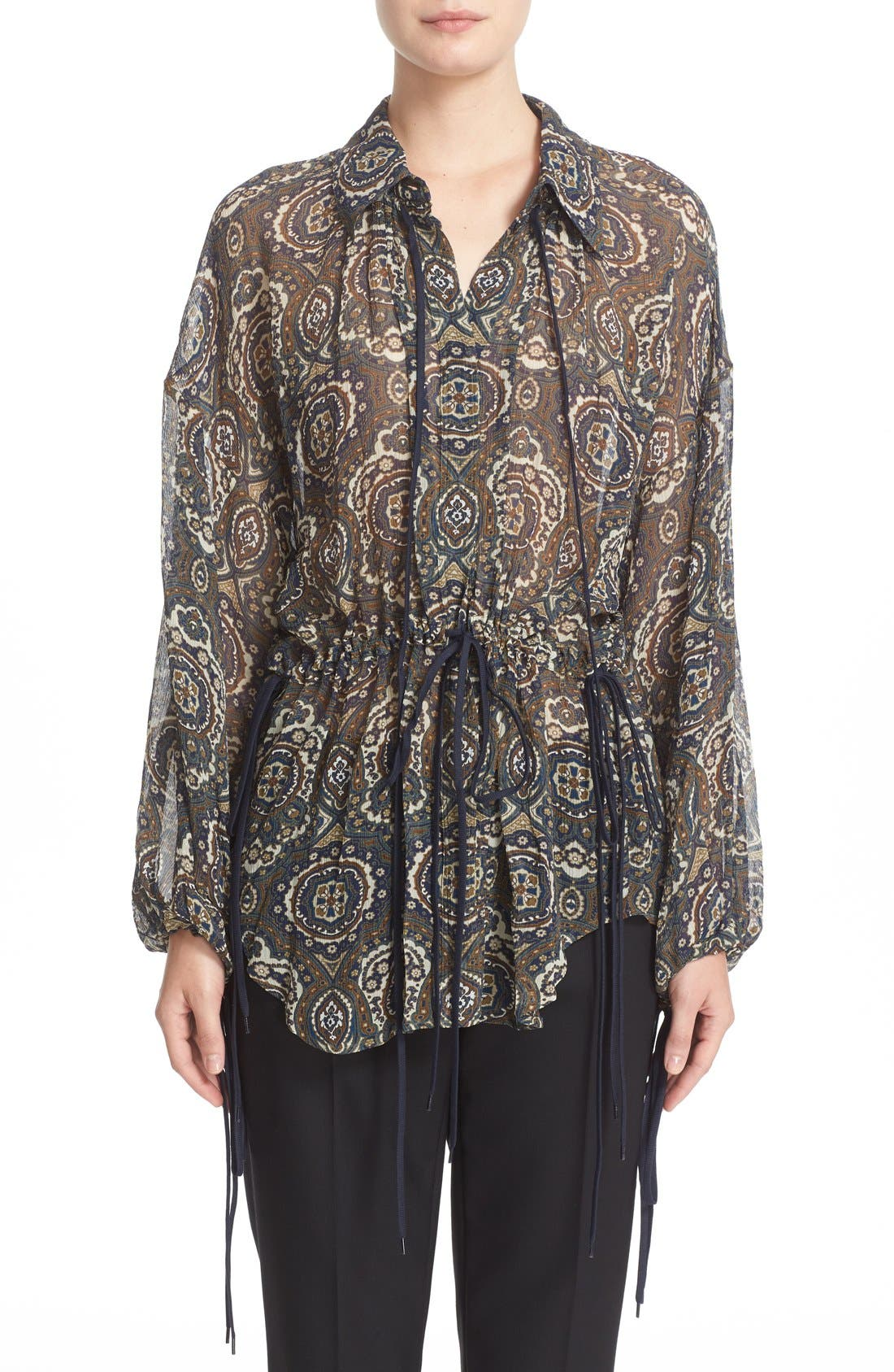 Main Image - Chloé Medallion Print Silk Crepon Blouse