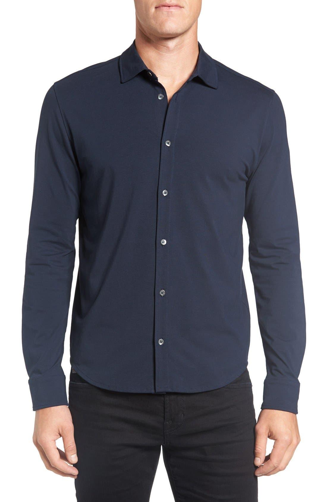 Aldridge Regular Fit Jersey Sport Shirt,                             Main thumbnail 1, color,                             Slate