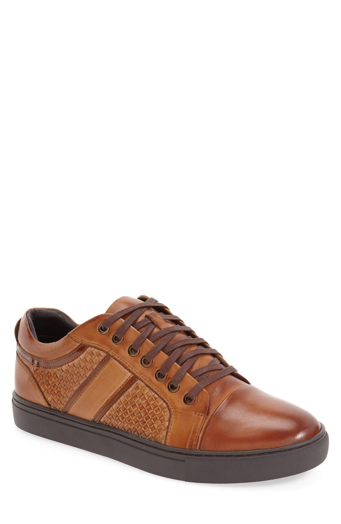 'Rhythm' Woven Sneaker, Main, color, Cognac