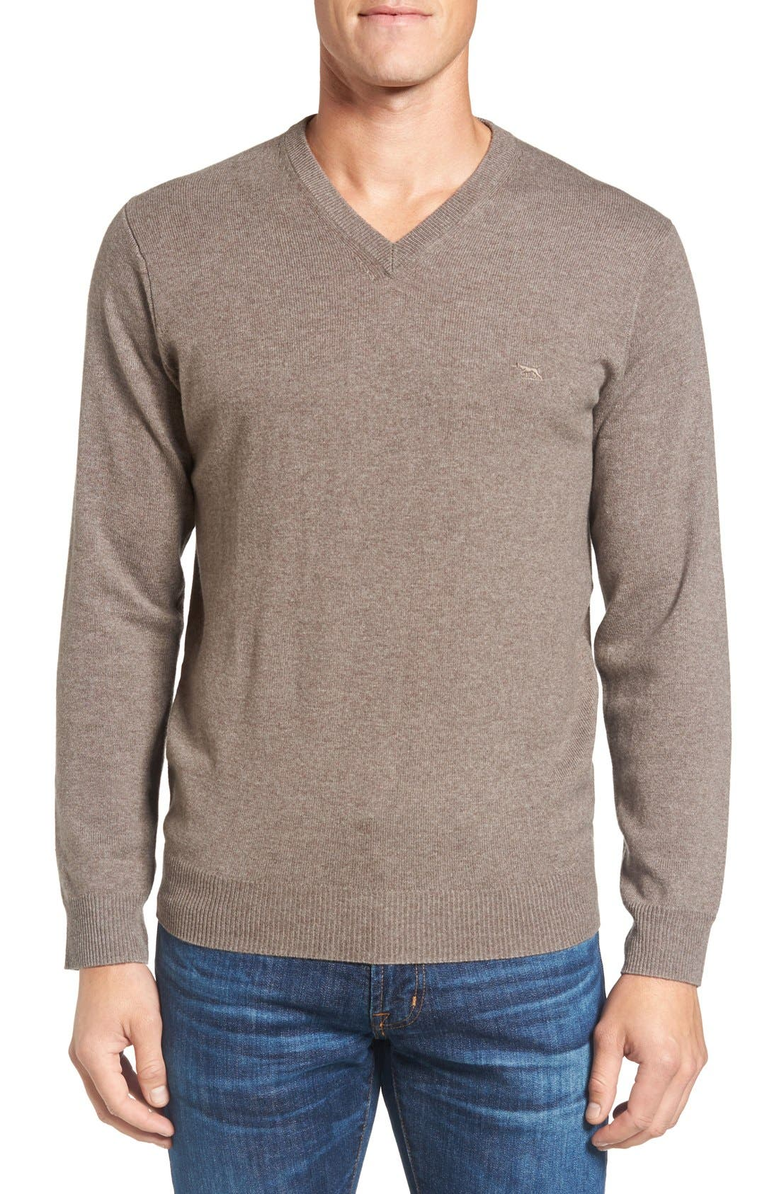 'Inchbonnie' Wool & Cashmere V-Neck Sweater,                         Main,                         color, Taupe