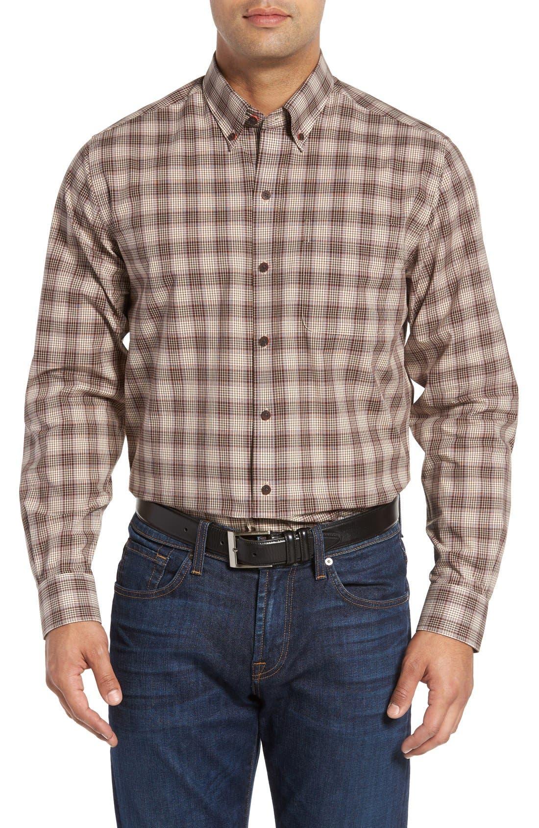 'Ridge' Plaid Cotton Poplin Sport Shirt,                         Main,                         color, Brown/ Multi