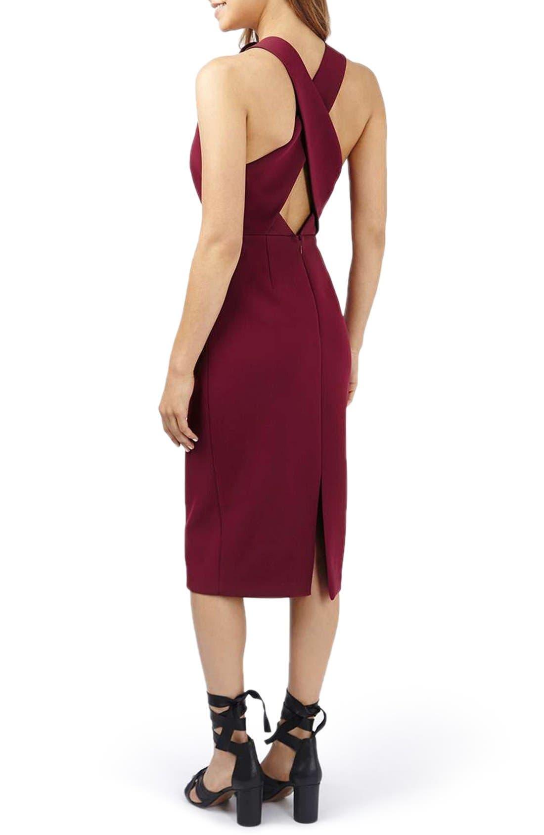 Alternate Image 2  - Topshop Structured Crisscross Back Midi Dress