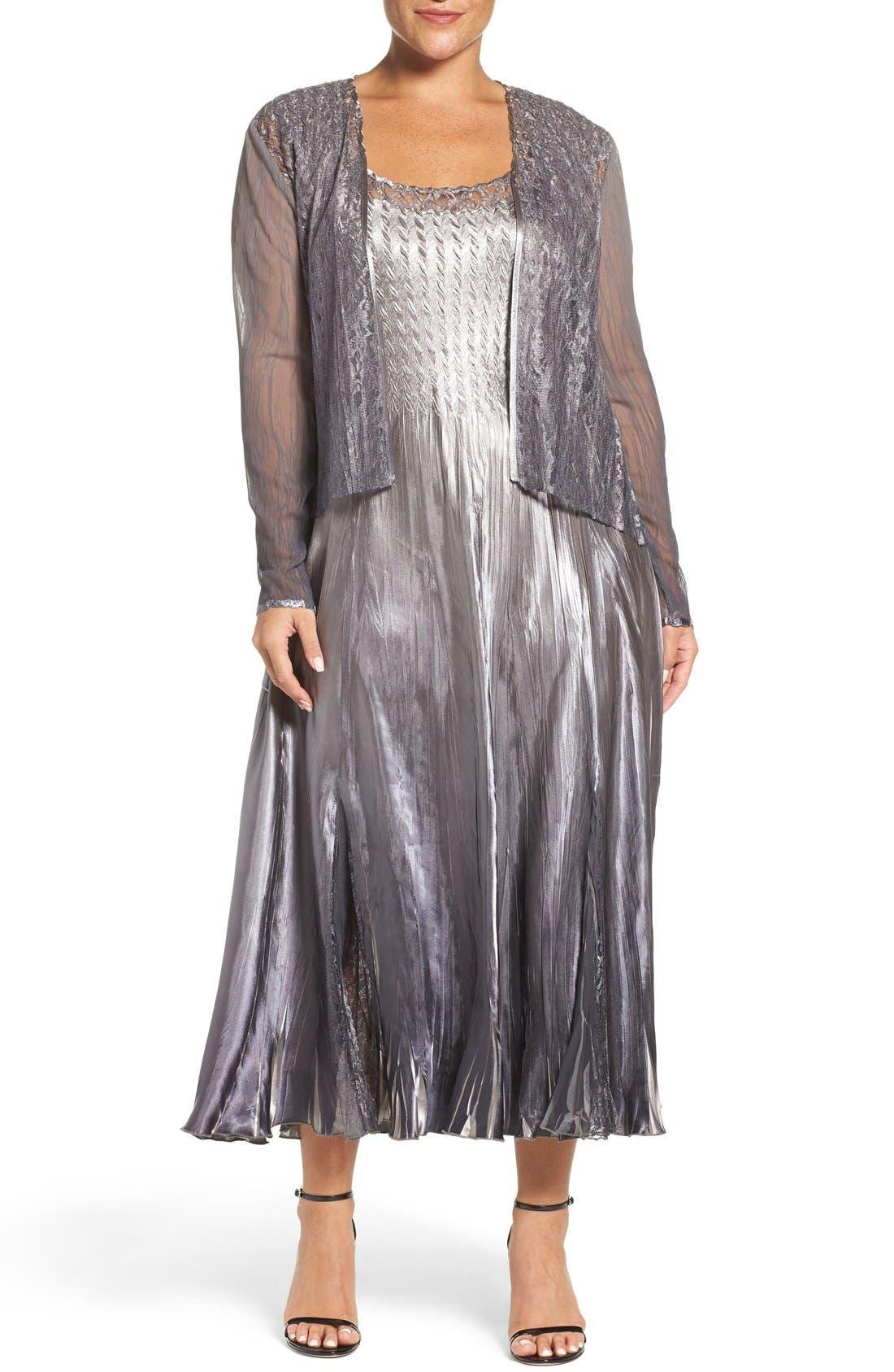 Main Image - Komarov A-Line Dress & Lace Panel Jacket (Plus Size)