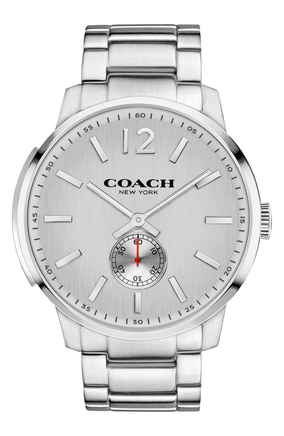 'Bleeker' Round Bracelet Watch, 46mm,                         Main,                         color, Silver