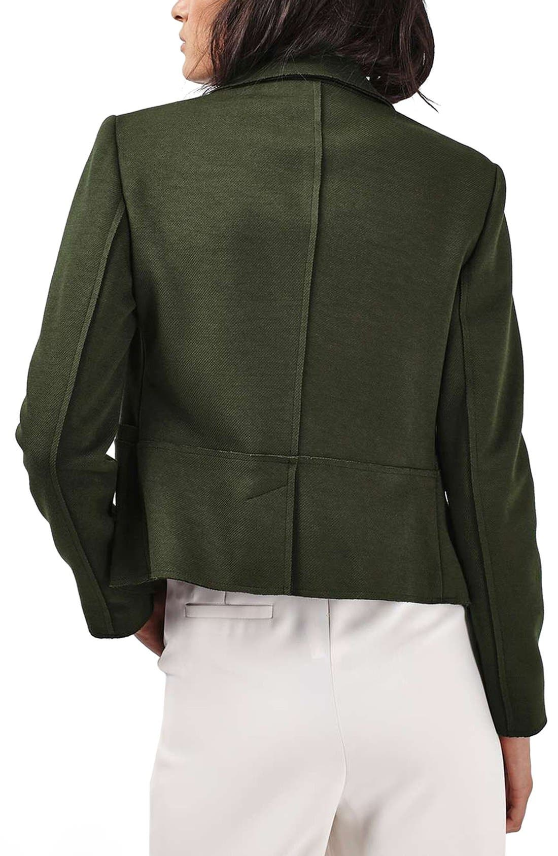 Gold Button Double Breasted Blazer,                             Alternate thumbnail 3, color,                             Green