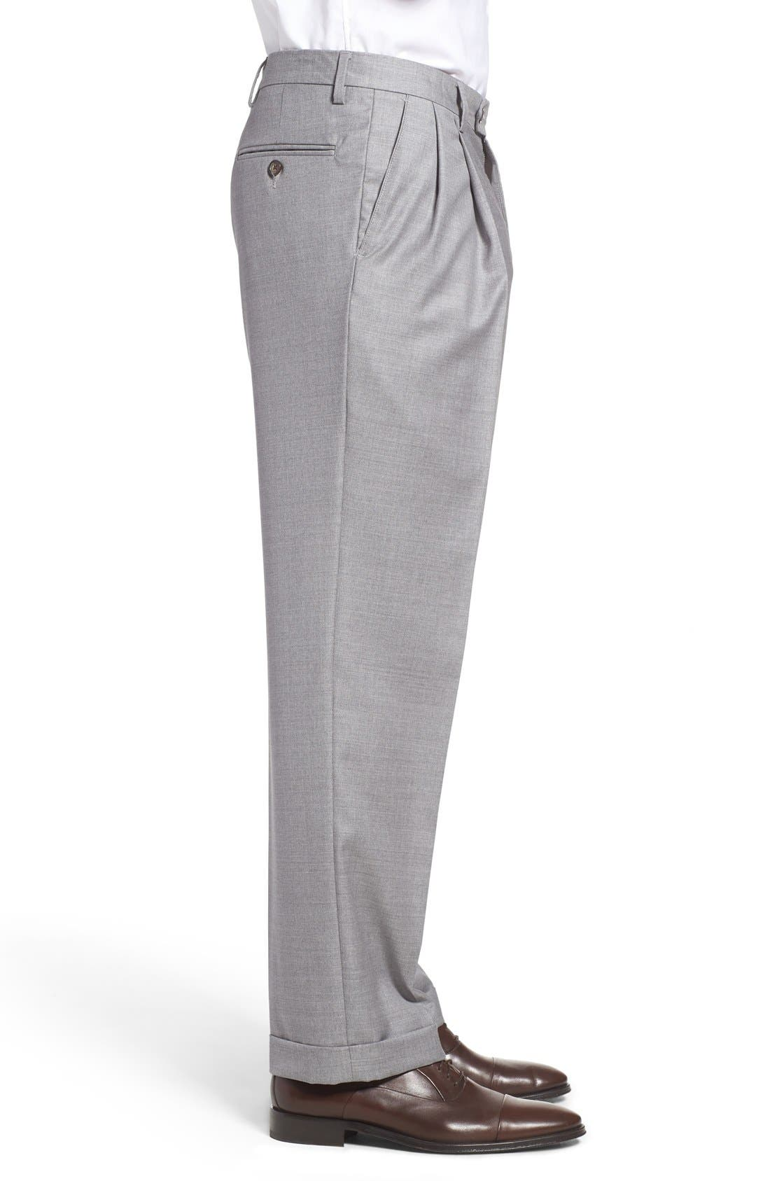 Pleated Solid Wool Trousers,                             Alternate thumbnail 4, color,                             Light Grey