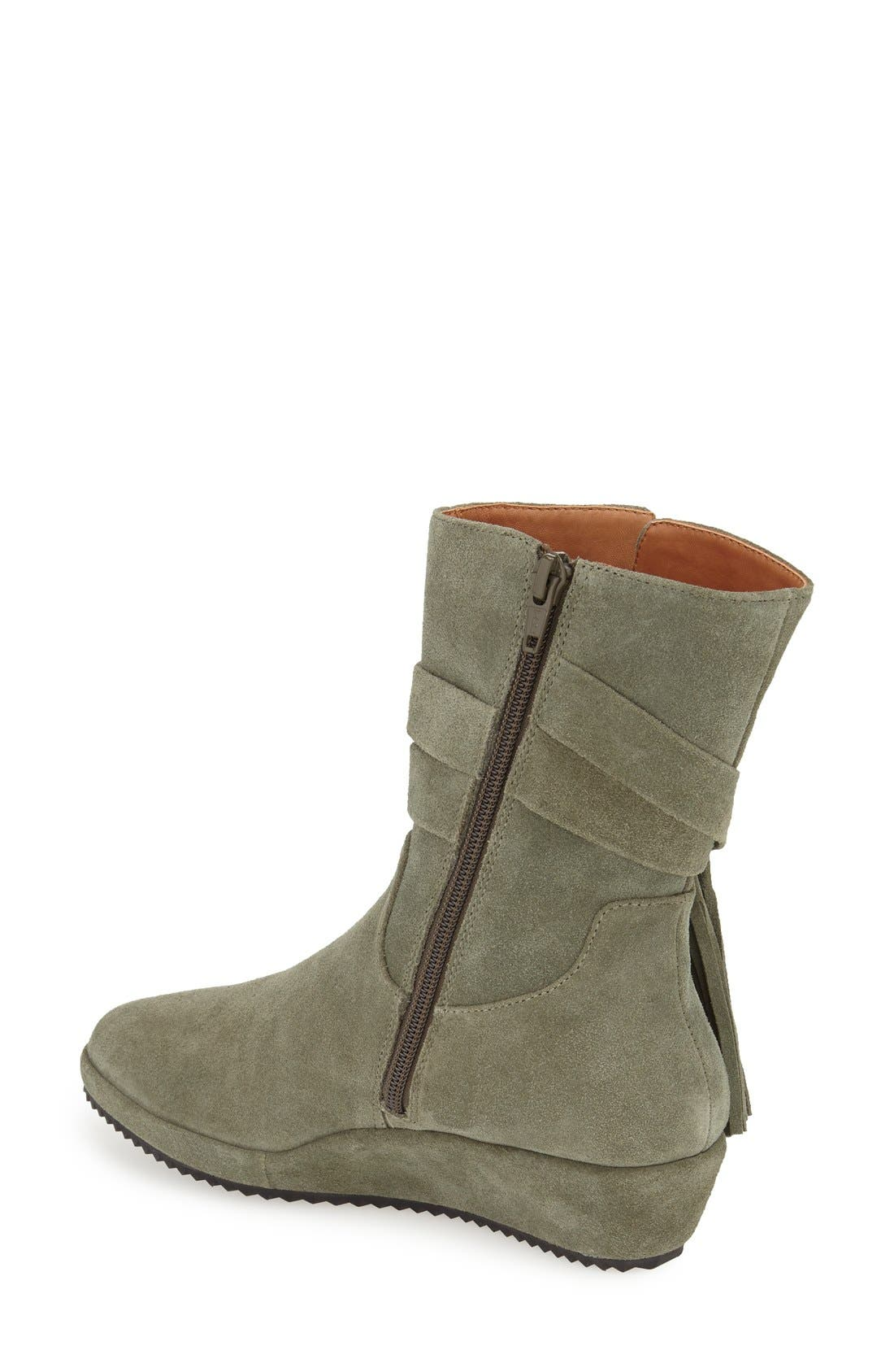 'Bernyce' Boot,                             Alternate thumbnail 2, color,                             Olive Suede Leather