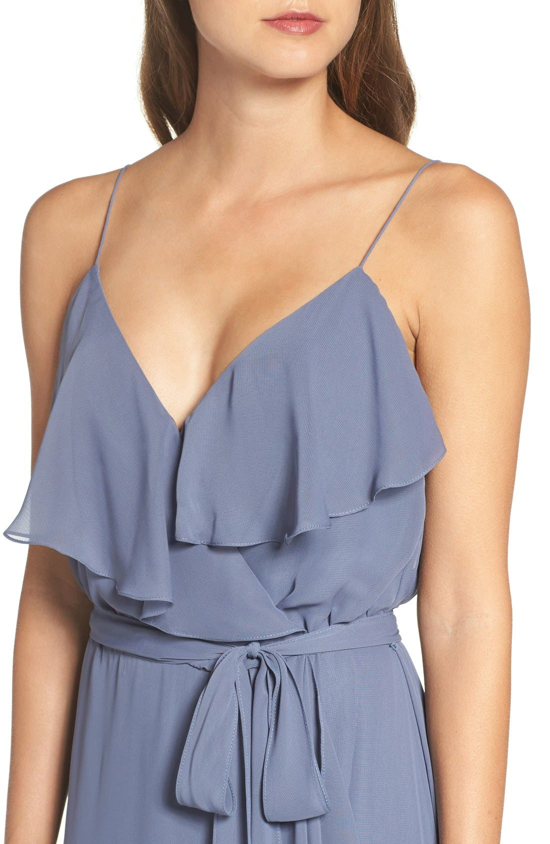 'Drew' Ruffle Front Chiffon Gown,                             Alternate thumbnail 5, color,                             Blue Steel