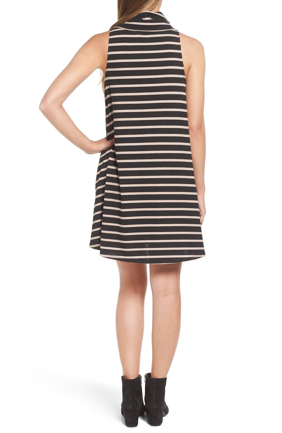 Cowl Neck Shift Dress,                             Alternate thumbnail 5, color,                             Black / Taupe Rib