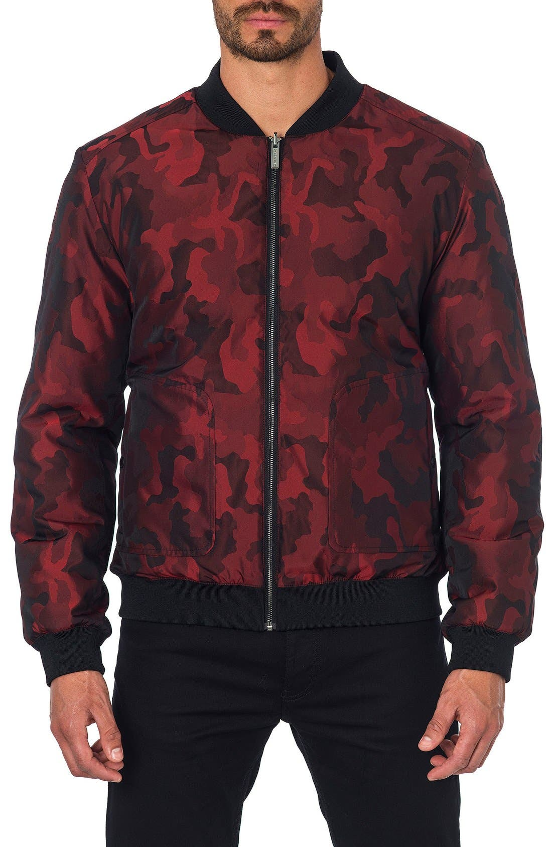 New York Reversible Bomber Jacket,                             Alternate thumbnail 5, color,                             Red Camo/ Black Quilted