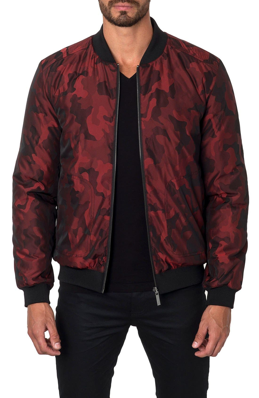 New York Reversible Bomber Jacket,                             Main thumbnail 1, color,                             Red Camo/ Black Quilted