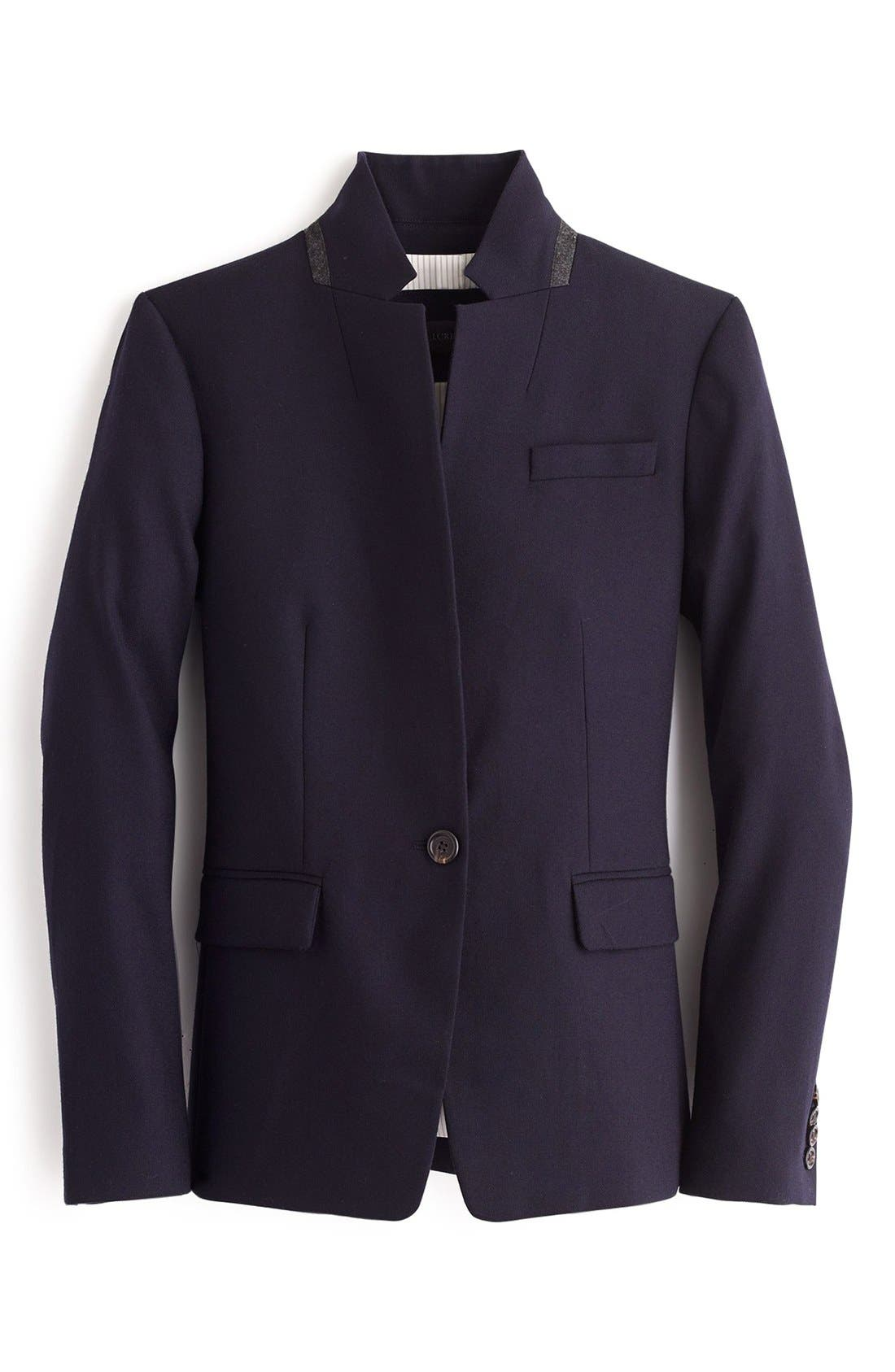 Regent Stand Collar Blazer,                             Alternate thumbnail 5, color,                             Navy