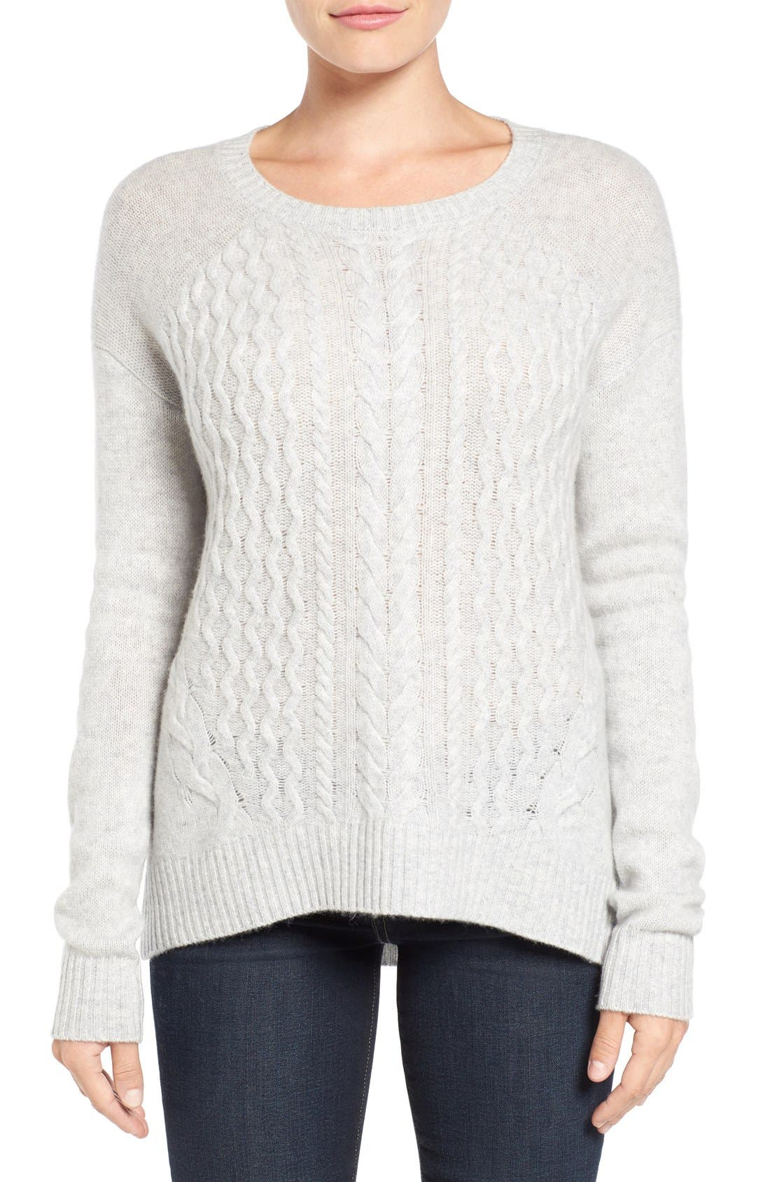 Main Image - Halogen® Cable Knit Wool & Cashmere Sweater (Regular & Petite)