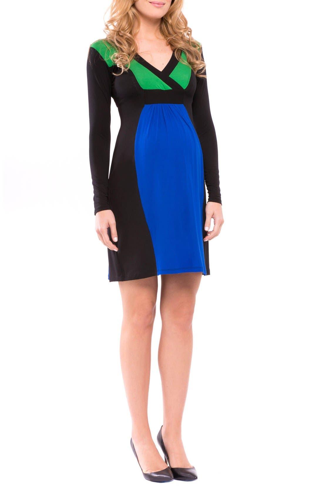 Margaret Maternity Dress,                             Alternate thumbnail 3, color,                             True Blue/ Grey/ Black