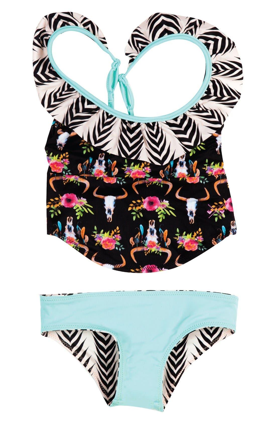 Dreamcatcher Two-Piece Tankini Swimsuit,                             Main thumbnail 1, color,                             Black