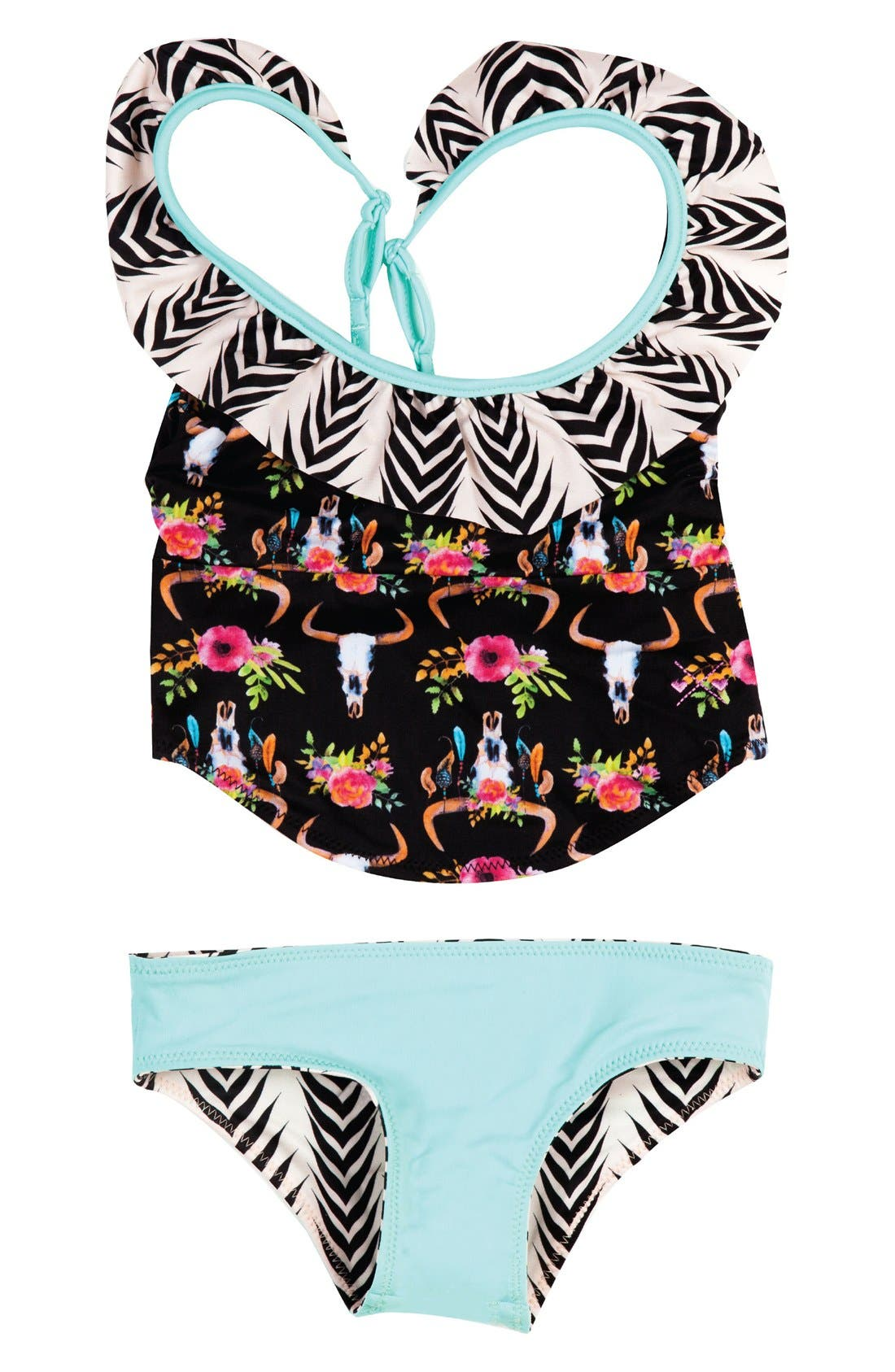 Dreamcatcher Two-Piece Tankini Swimsuit,                         Main,                         color, Black