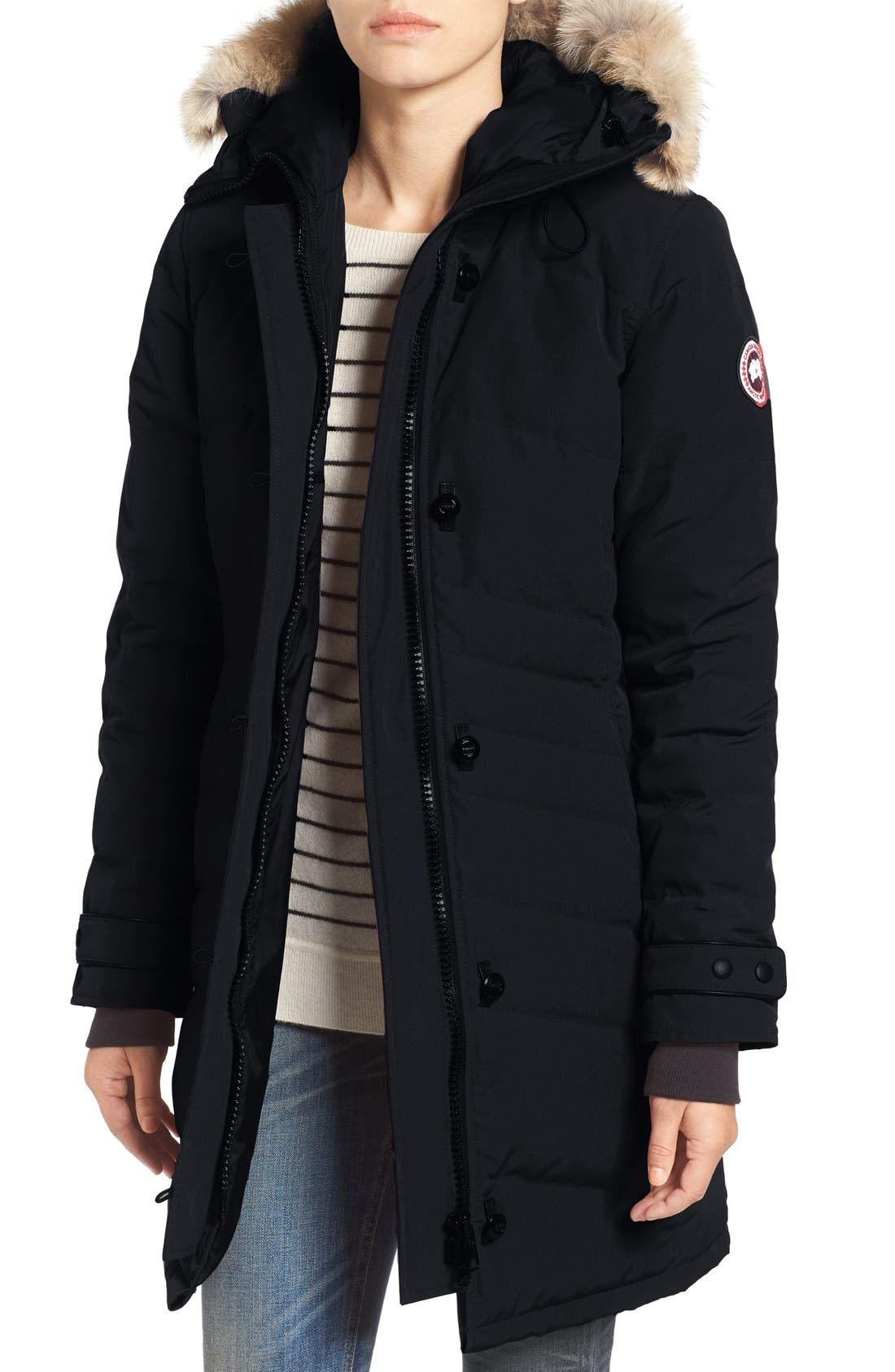 'Lorette' Hooded Down Parka with Genuine Coyote Fur Trim,                         Main,                         color, Navy