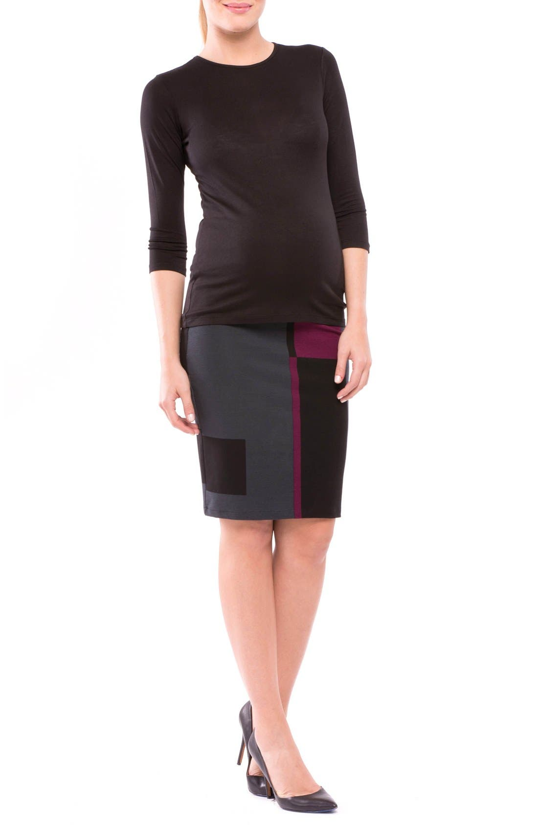 'Madison' Maternity Skirt,                             Alternate thumbnail 4, color,                             Eggplant/ Black