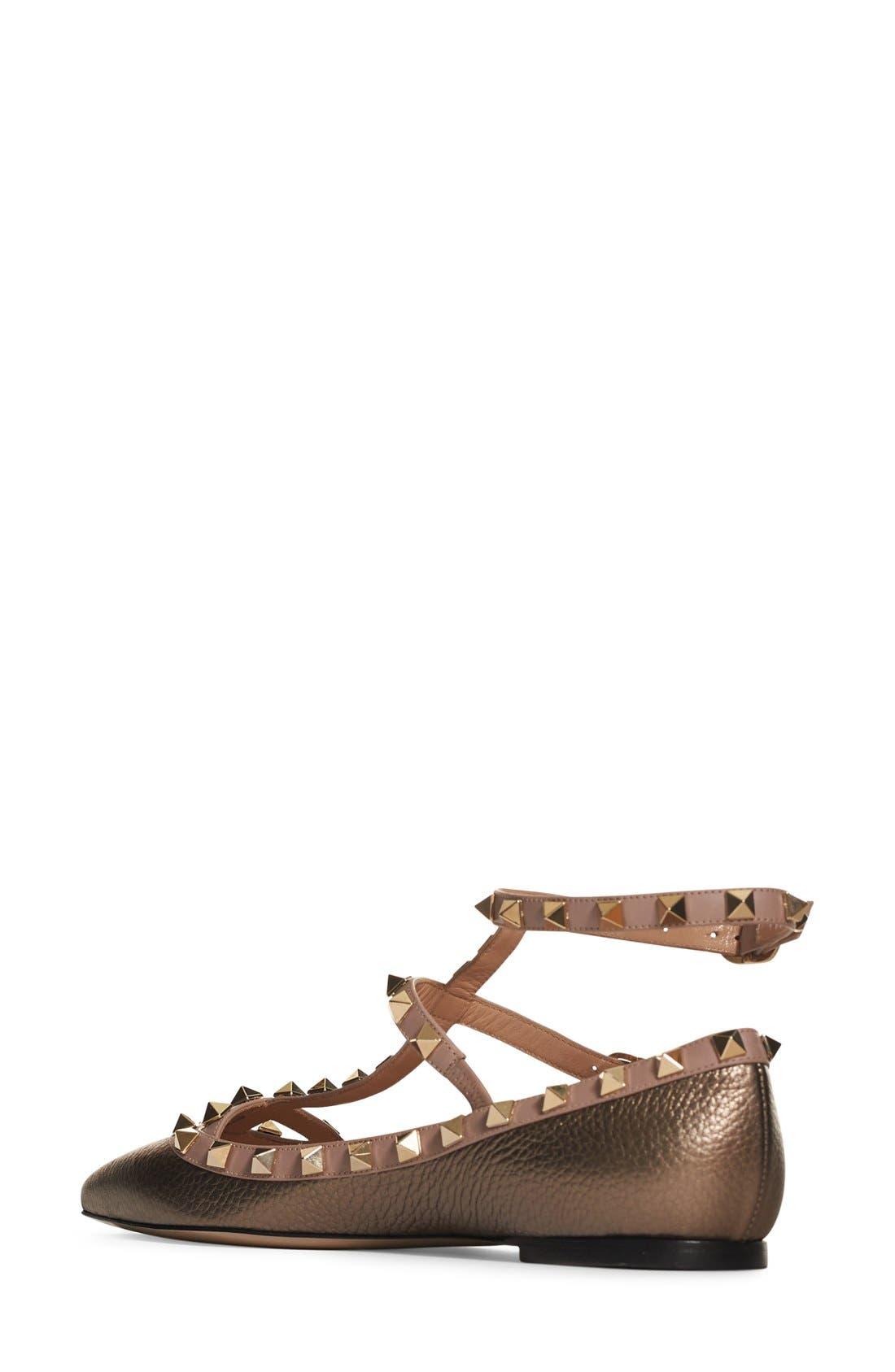 Alternate Image 4  - VALENTINO GARAVANI 'Rockstud' T-Strap Flat (Women)