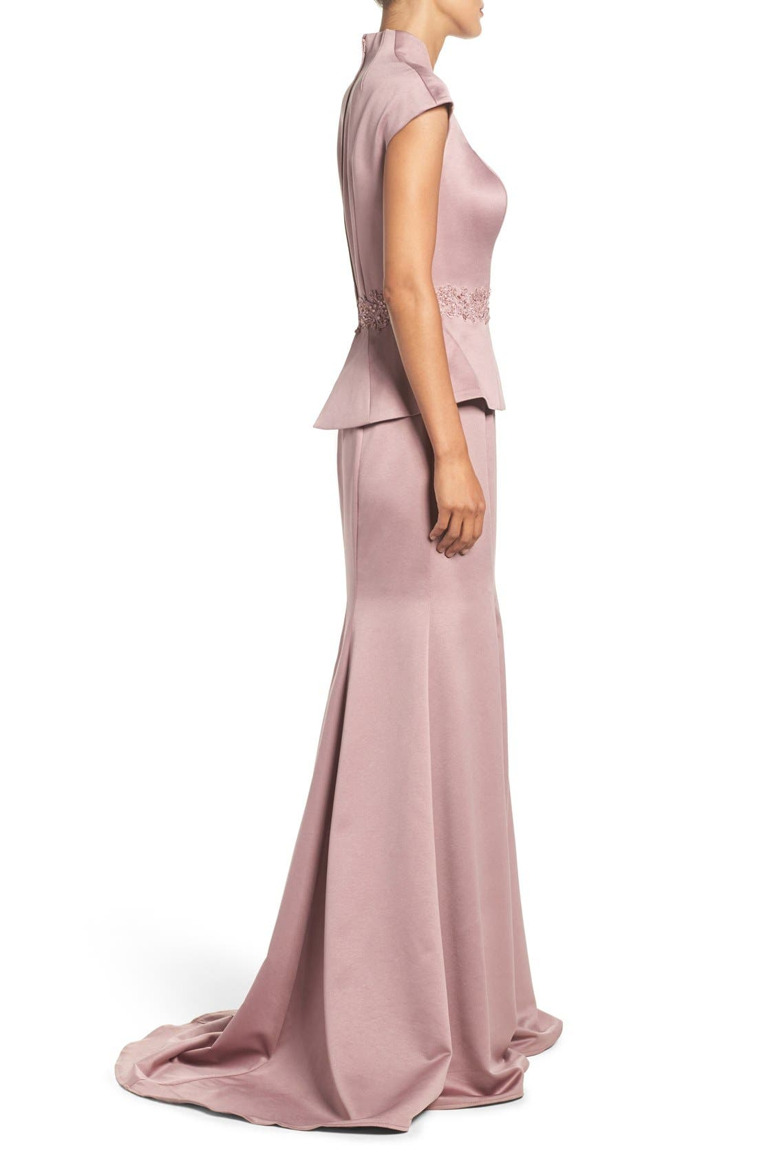 Alternate Image 3  - La Femme Mock Two-Piece Satin Gown