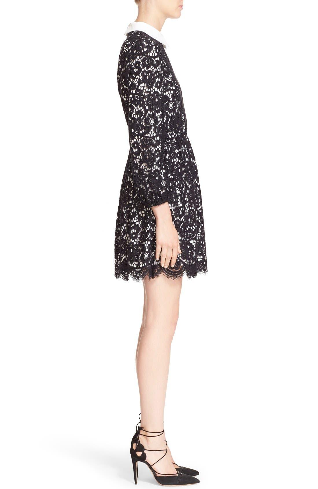 Alternate Image 3  - Alice + Olivia 'Terisa' Collared Blouson Sleeve Lace Dress